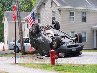 car upside down after accident
