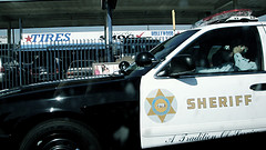 parked sheriff car on call